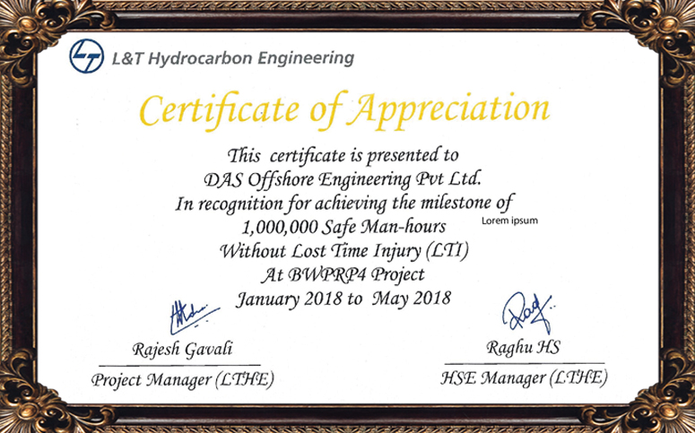 Certificate of Appreciation - BWPRP4 Project